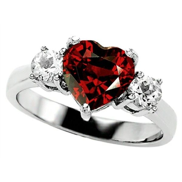 Star K 8mm Heart Shape Simulated Garnet Engagement Ring (170 CAD) ❤ liked on Polyvore featuring jewelry, rings, accessories, red, engagement rings, heart shaped rings, red heart ring, imitation engagement rings and garnet heart ring