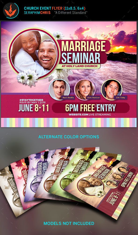 Marriage Seminar Church Flyer Template This colorful flyer can be used for different purposes. It comes with a vibrant theme that can be changed to your liking. #template #flyertemplate