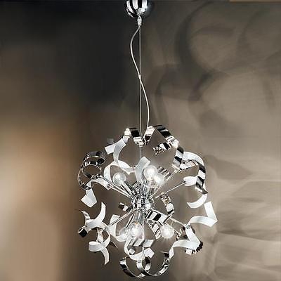 Lampadario sospensione design moderno riccioli bianchi acciaio cromato soggiorno