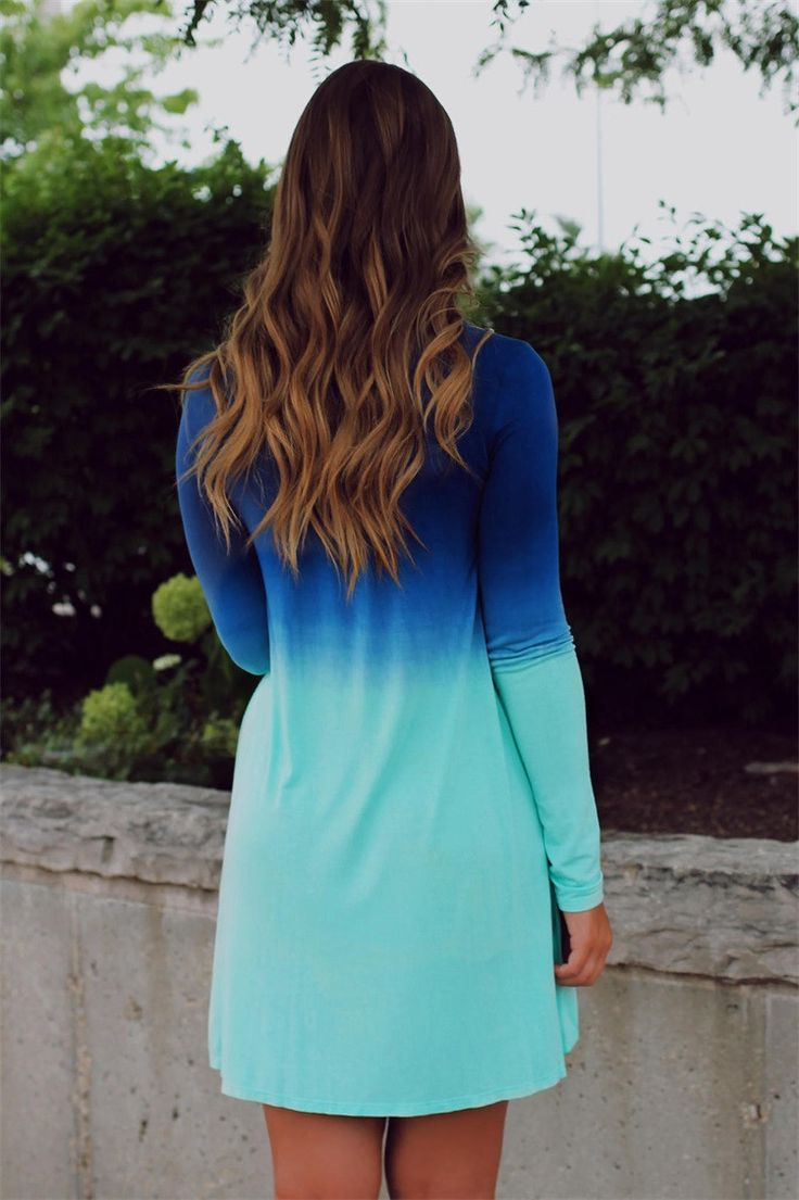Fading away summer blue dress