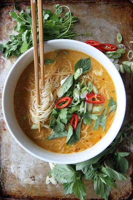 Spicy Thai Curry Noodle Soup by Heather Christo (sub vegetable broth for vegetarian soup)