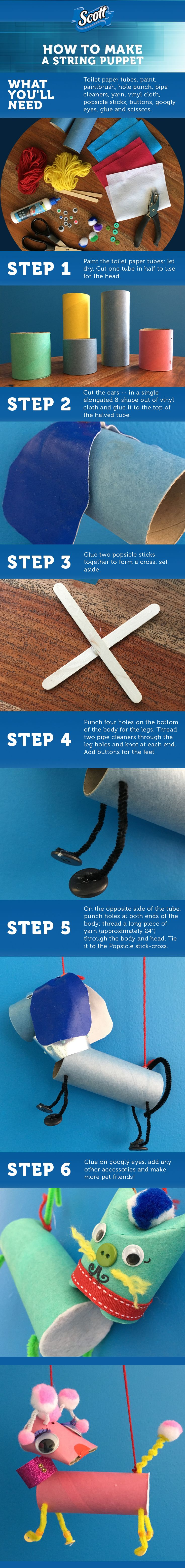 Summer has officially begun. So that means the little ones are home and looking for something to do. This fun puppet craft is sure to fill an afternoon with fun. Grab some TP tubes, construction paper, chopsticks, markers, glue, bottle caps, thread and a thumbtack to get started on this craft.