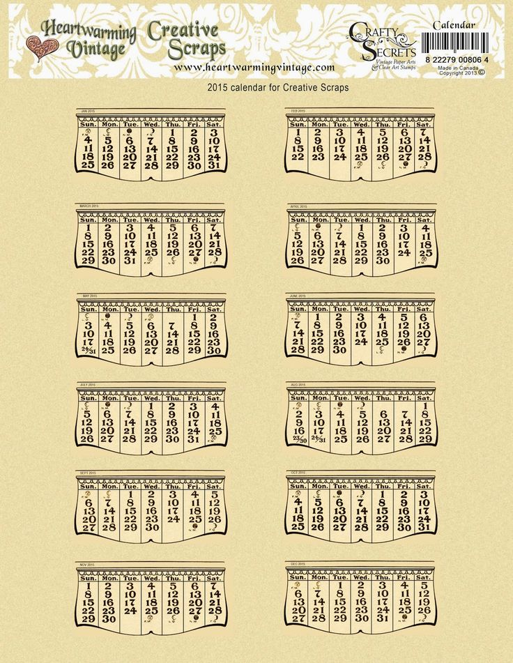Crafty Secrets 2015 Free Printable Vintage Calendars in 2 styles with links to high resolution PDF files. This style matches our Calendar Scraps which are on sale for .99 cents. Also available in white which can be printed on any light color paper or card stock. See links to ideas