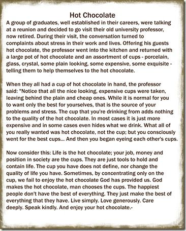 Hot chocolate mugs Cup does not define us, it is the hot chocloate inside the cup- that is who we really are