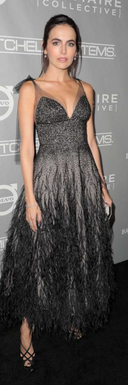 Who made Camilla Belle's black mesh sequin dress?