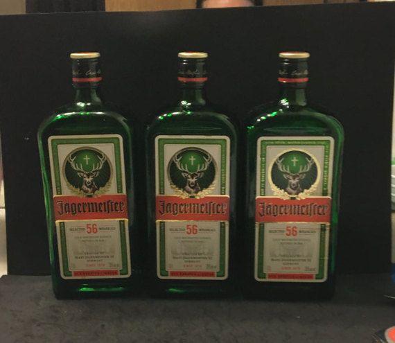 3  1 L jagermeister bottles empty
