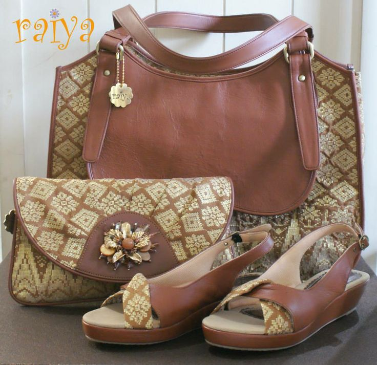 Tadya Bag, Opal Clutch w Brooch and Sheila Shoes in Hand-woven Songket wrapped with Premium Cowhide Leather - SOLD FULL SET