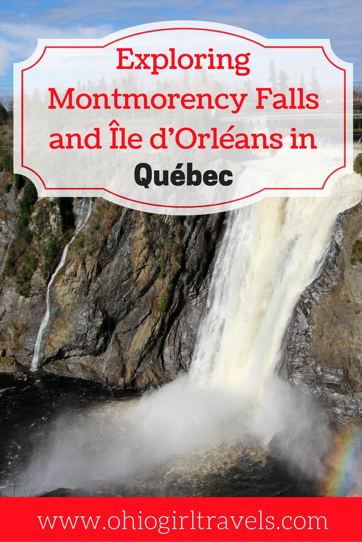 If you're looking for a beautiful road trip from Québec City, a trip to Montmorency Falls and Île d'Orleans is sure to impress. You'll see the beautiful falls before crossing the Lawrence River for a scenic road trip in Québec. Click through to find out why this is day trip is a must when you're visiting Québec. You'll want to save this to your travel board.   Road trip in Quebec | day trip from Quebec | scenic views in Quebec |