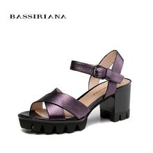 BASSIRIANA - sandals women 2017 Genuine Full Grain Leather High heels summer shoes for woman Free shipping(China (Mainland))