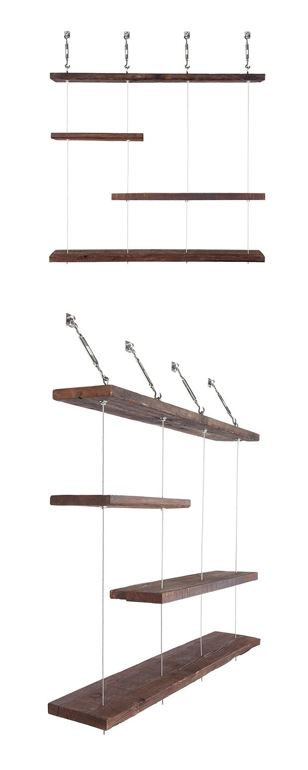 Make a storage statement with these Turnbuckle shelves. Built from 93-year-old reclaimed pine wood, and suspended with stainless steel, nickel plated hardware, these wooden ledges almost look like they... Find the Turnbuckle Layered Shelves, as seen in the Photographer's Loft Collection at http://dotandbo.com/collections/photographers-loft?utm_source=pinterest&utm_medium=organic&db_sku=DBIIM4T_004L