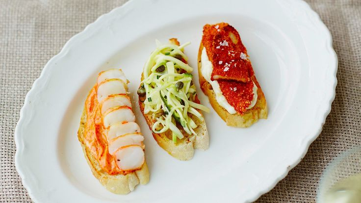 Three cicchetti - interested in the cod and courgette toppings on this one!!!