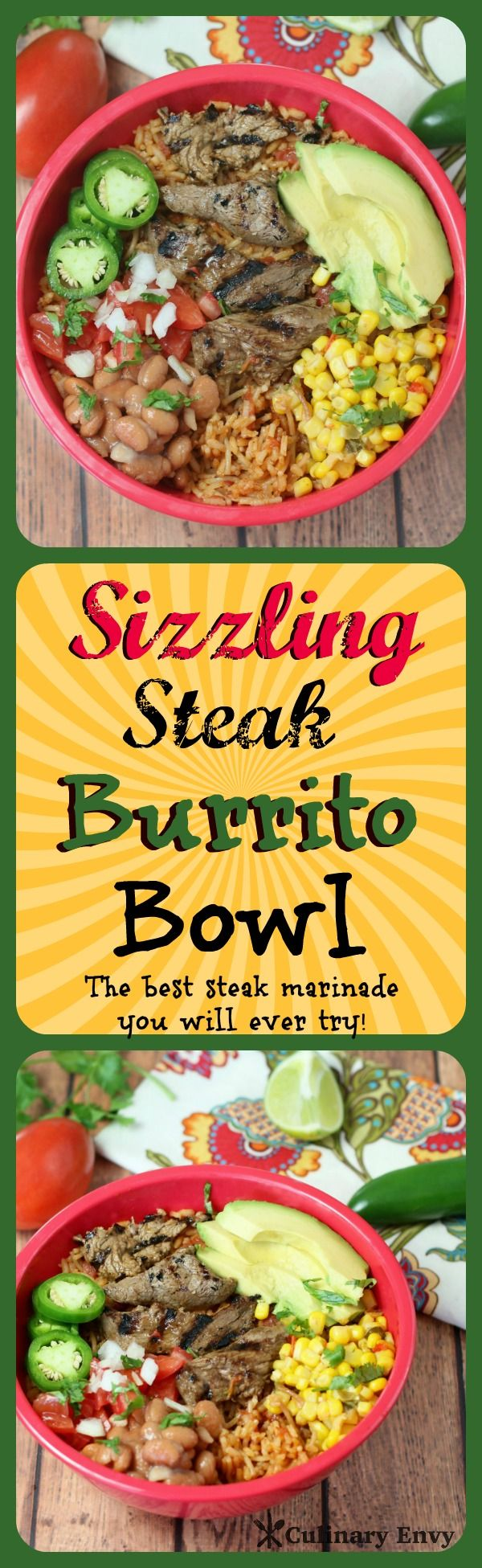Sizzling Steak Burrito Bowl is not your average burrito bowl! Marinated grilled steak, savory Spanish rice, zesty beans and corn, smoky ranch, plus all the other fantastic fixings.  Perfect for game day!
