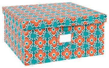 Re-Gift Collection Flora Box, Teal, Large contemporary storage boxes