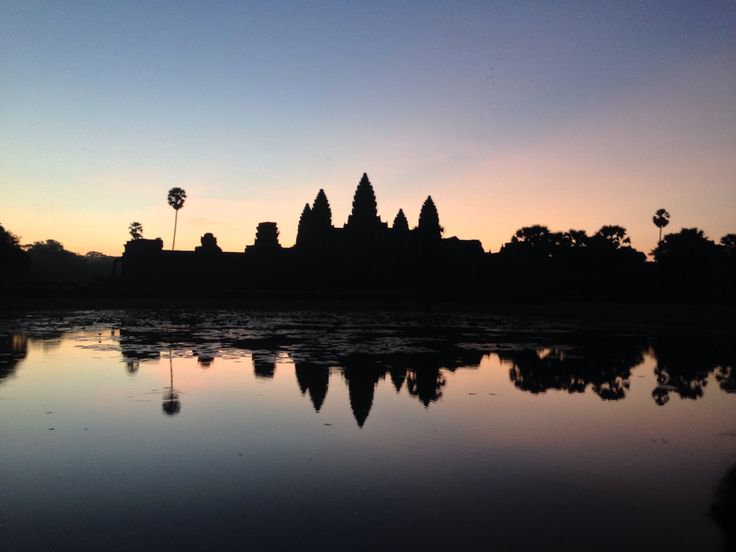 Beautiful sunrise silhouette at Angkor Wat