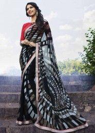 Casual Wear  Georgette Black Printed Saree