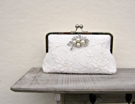Lace bridal clutch bag ivory wedding by ConstanceHandcrafted