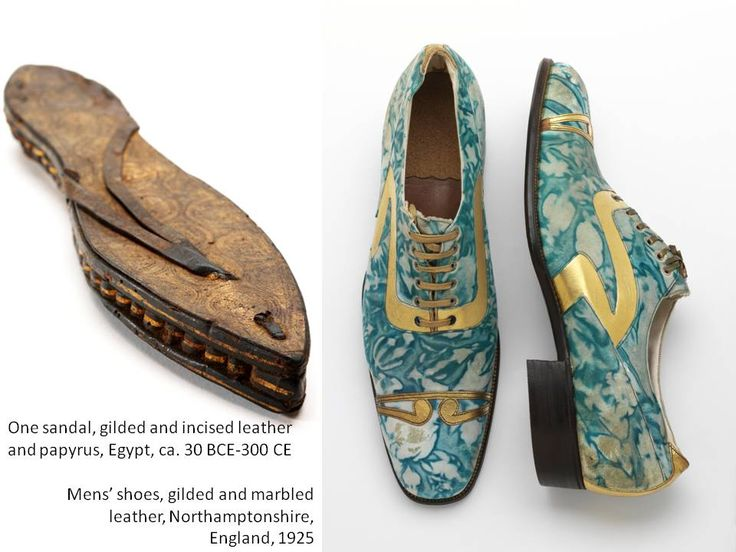 One sandal, gilded and incised leather and papyrus, Egypt, ca. 30 BCE-300 CE and Mens' shoes, gilded and marbled leather, Northamptonshire, England, 1925 © Victoria and Albert Museum, London (2)