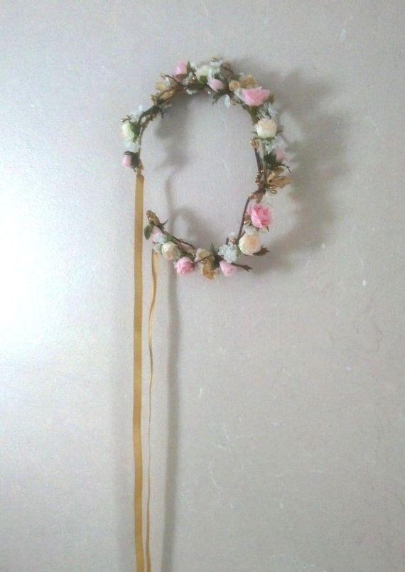 Pink gold Flower crown Bridal hair garland halo by AmoreBride