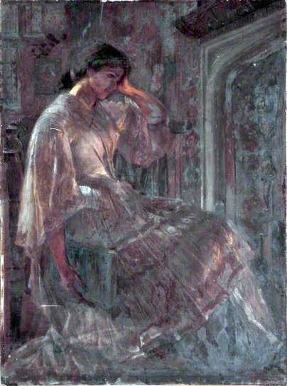 Figuration Feminine: Ellen Clacy (1853-1916) Seated Girl With a Book