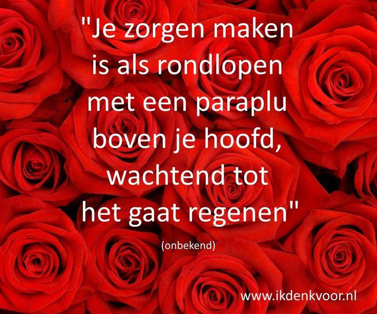 """Quote: """"Je zorgen maken is als rondlopen met een paraplu boven je hoofd, wachtend tot het gaat regenen"""" www.ikdenkvoor.nl"""