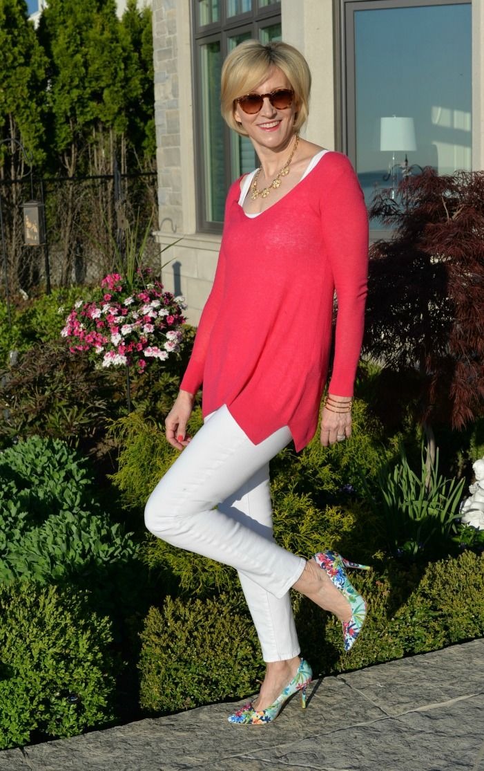 Pair white jeans with colorful floral print heels for a burst of color   Fabulous After 40