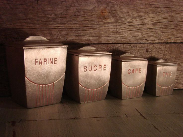 17 best images about vintage cans tins boxes canisters for Retro kitchen set of 6 spice tins