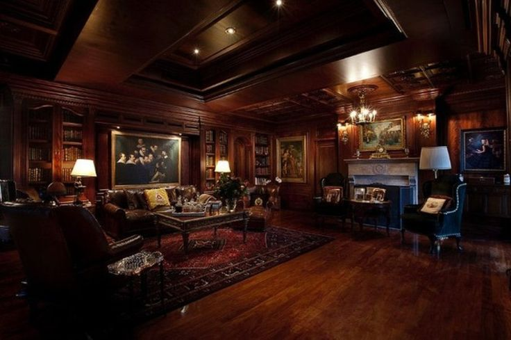 Deep Dark secret victorian smoking room... Only no smoking ;) This, plus a bar area, is how I picture the downstairs guest room