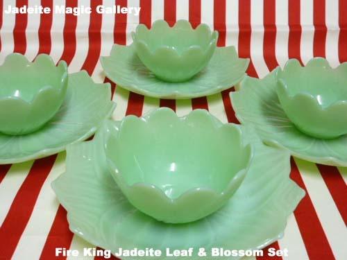 Fire King Jadeite, Leaf & Blossom Set