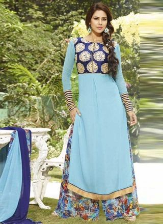 Sky Blue With Royal Blue Chiffon Embroidery Work Churidar Suit