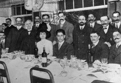 Cena para celebrar el Torneo Internacional de ajedrez celebrado en el Gran Casino de San Sebastián, campeón Capablanca, 1911.