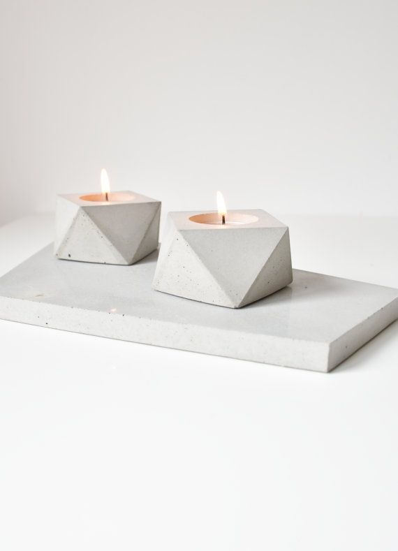 Set of 2 geometric concrete tea candle holder by FactoLab on Etsy