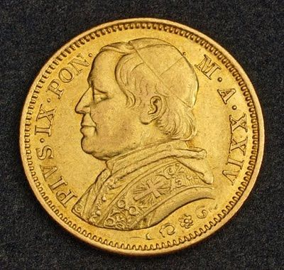 Papal States Vatican 20 Lire Gold Coin, Pope Pius IX, minted in 1869 (Year XXIV).