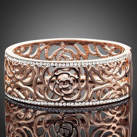 18K Rose Gold Plated Stellux Gorgeous Paved Cuff Arabesquit Bangle | Stylish Beth