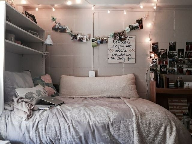 Fairy lights, home decor, bed, bedroom, house goals  / @riddhisinghal6