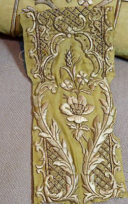 Antique French Metallic Gold Embroidered Applique Stumpwork Rose Flowers