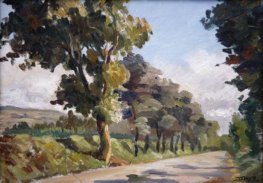 Aun en su obra surrealista aparece el paisaje como fondo de uno de sus cuadros, representándolo visto a través de una ventana.