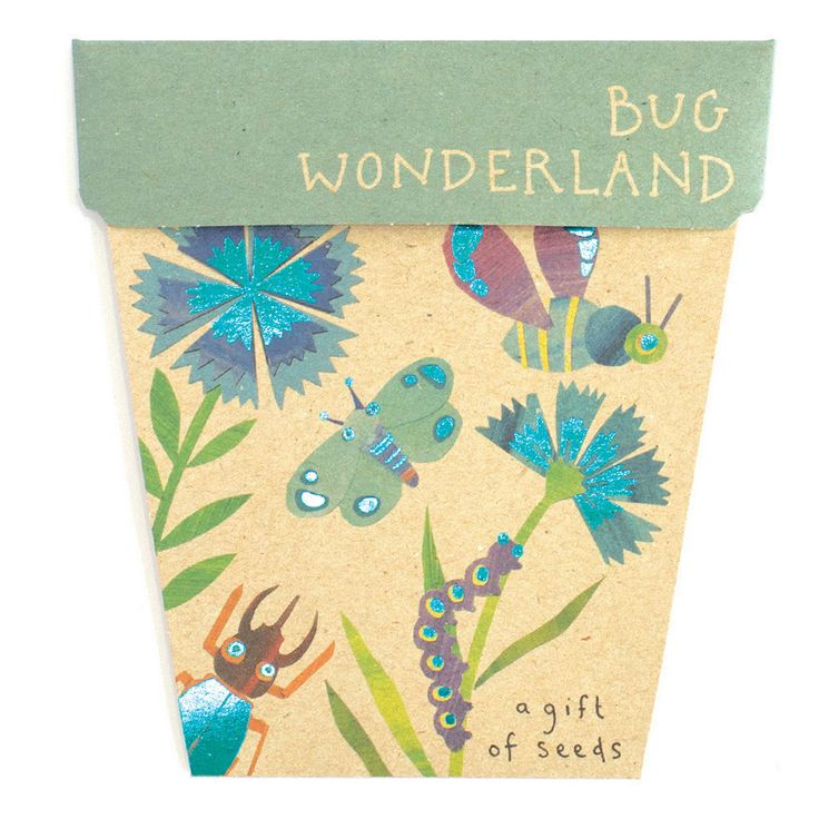 SOW 'N SOW | Bug Wonderland. // dianthus. cosmos. cornflower. alyssum. gift. seeds. budding. green thumbs. made in melbourne. eco-friendly. card.
