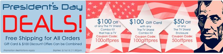 Huge Presidents Day Sale: save $100, $50 or get a $100 gift card with select The TV Shield weatherproof TV enclosure purchases! #TheTVShield #Sale #PresidentsDay #Deals #Electronics #outdoorliving