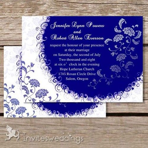 winter deep blue wedding invitations