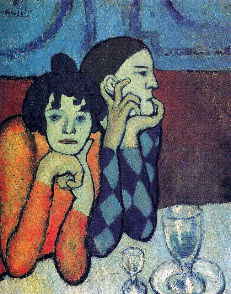 Пабло Пикассо «Арлекин и его подружка» (Странствующие гимнасты)