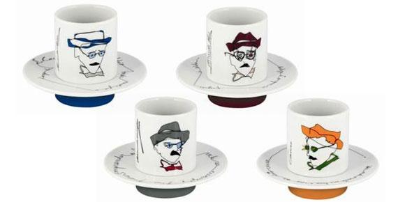 Conjunto de xícaras/ chávenas com os heterônimos de Fernando Pessoa. Retirado de: http://www.ovarandao.pt/catalogo/diversos/chavenas-heteronimos