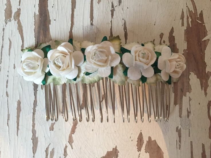 Cream/Ivory Paper Flower Roses Hair Comb by SunshinePieCreations on Etsy https://www.etsy.com/listing/262696680/creamivory-paper-flower-roses-hair-comb