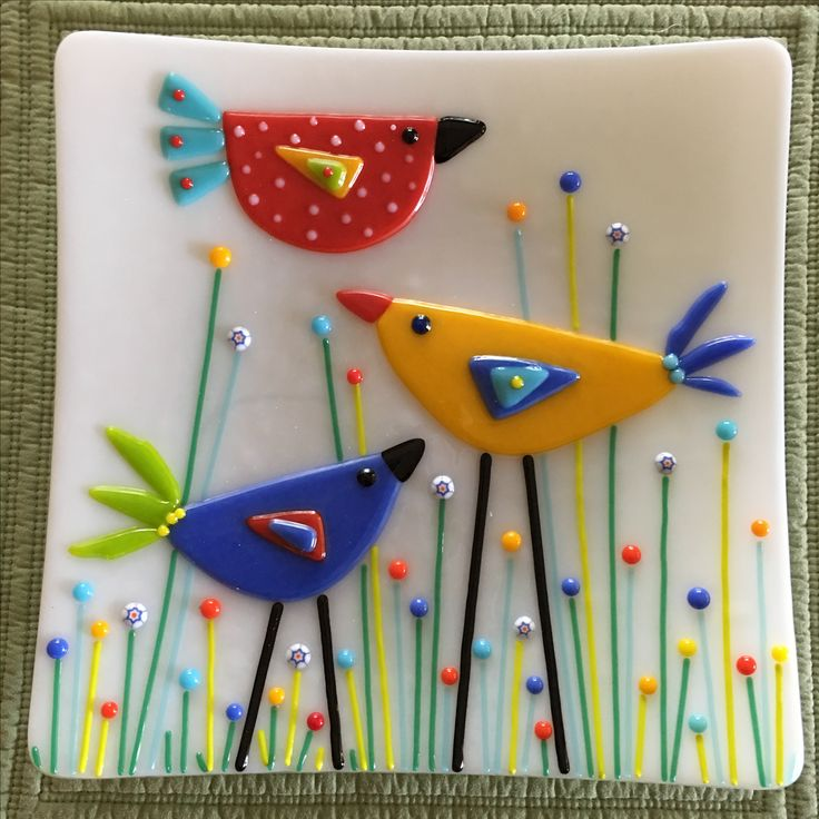 "Birds in the Garden Plate by Kim Natwig.  9"" square and soft fused."