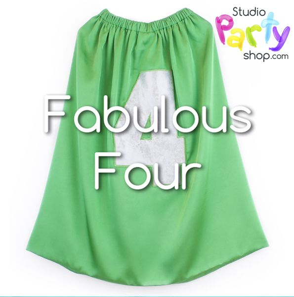 Is your three year old turning FABULOUS FOUR? Buy children's capes for costume parties. Numbers 1 -10.