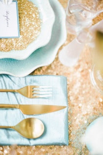 Turquoise and gold sparkle  Style Me Pretty   Gallery