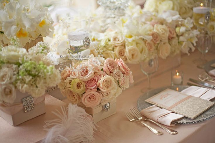neutral cream and blush color wedding ~ tabletop