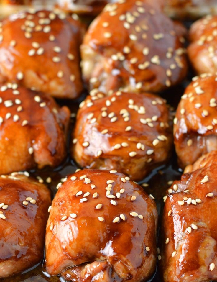 Five ingredient sticky sesame chicken. I started with boneless skinless chicken thighs which, in my opinion are the be-all and end-all of chicken.