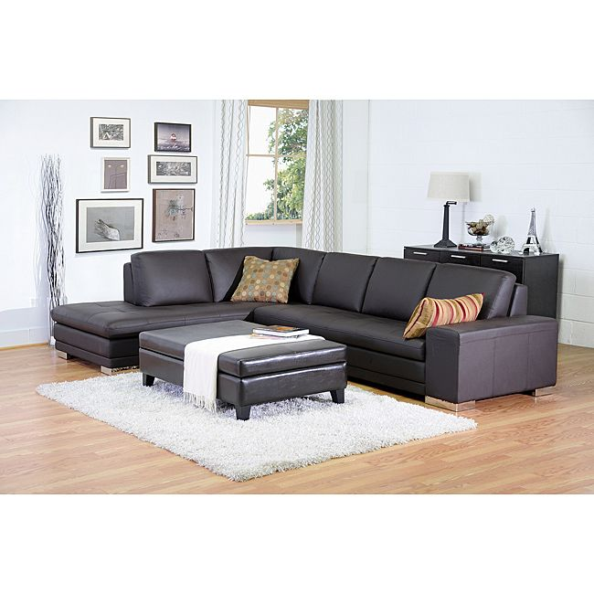 Larry dark brown leather reverse sectional sofa chaise for Brown leather sectional with chaise