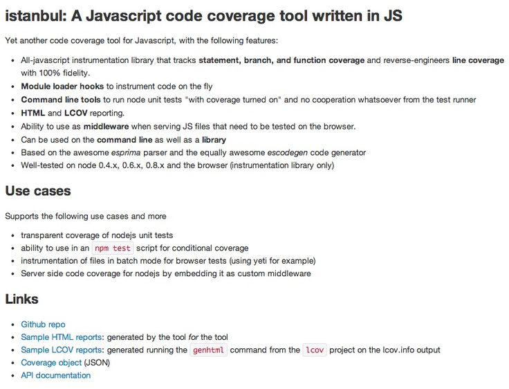 istanbul A Javascript code coverage tool written in JS Web