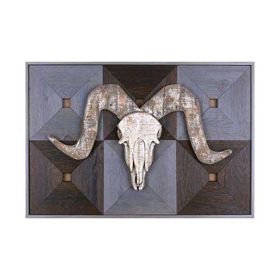 Hobbitholeco Ram Head on Wood II Framed Art